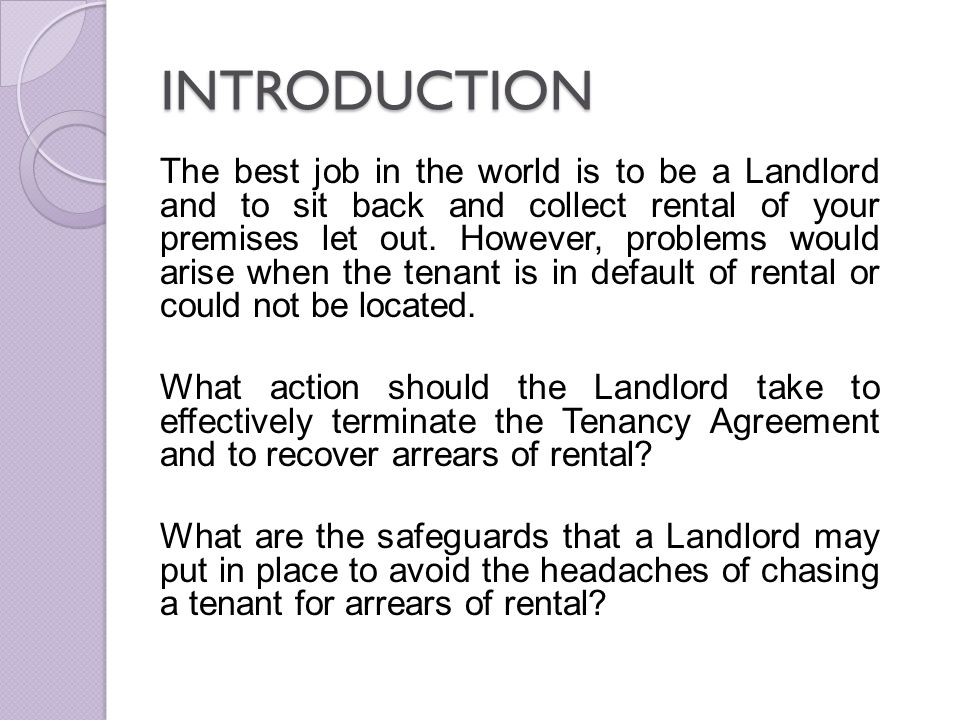 Issues in tenancy matters in malaysia ppt download 2 introduction spiritdancerdesigns Image collections