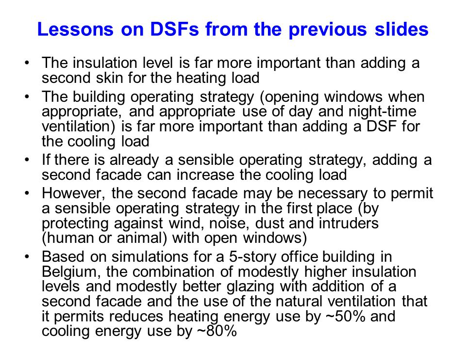 Lessons on DSFs from the previous slides