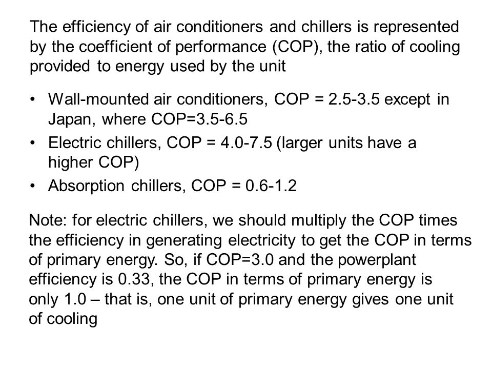 The efficiency of air conditioners and chillers is represented by the coefficient of performance (COP), the ratio of cooling provided to energy used by the unit