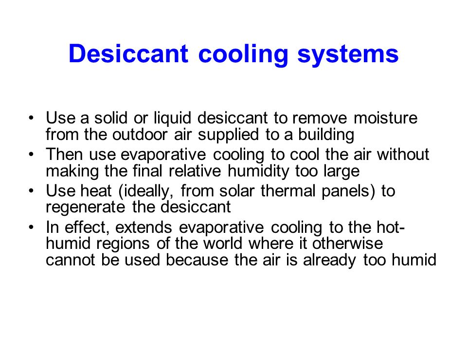 Desiccant cooling systems