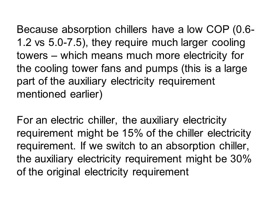 Because absorption chillers have a low COP (0. 6-1. 2 vs 5. 0-7