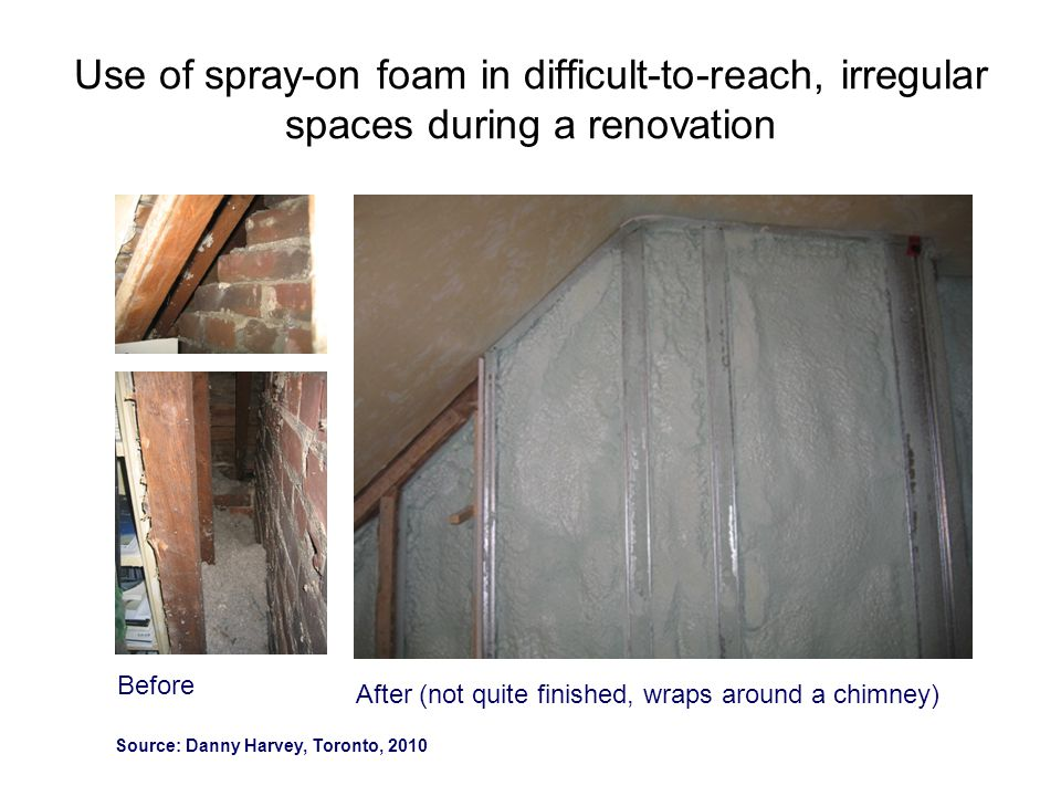 Use of spray-on foam in difficult-to-reach, irregular spaces during a renovation
