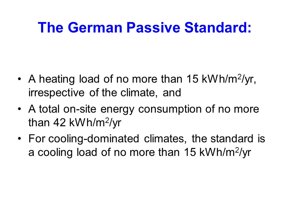 The German Passive Standard: