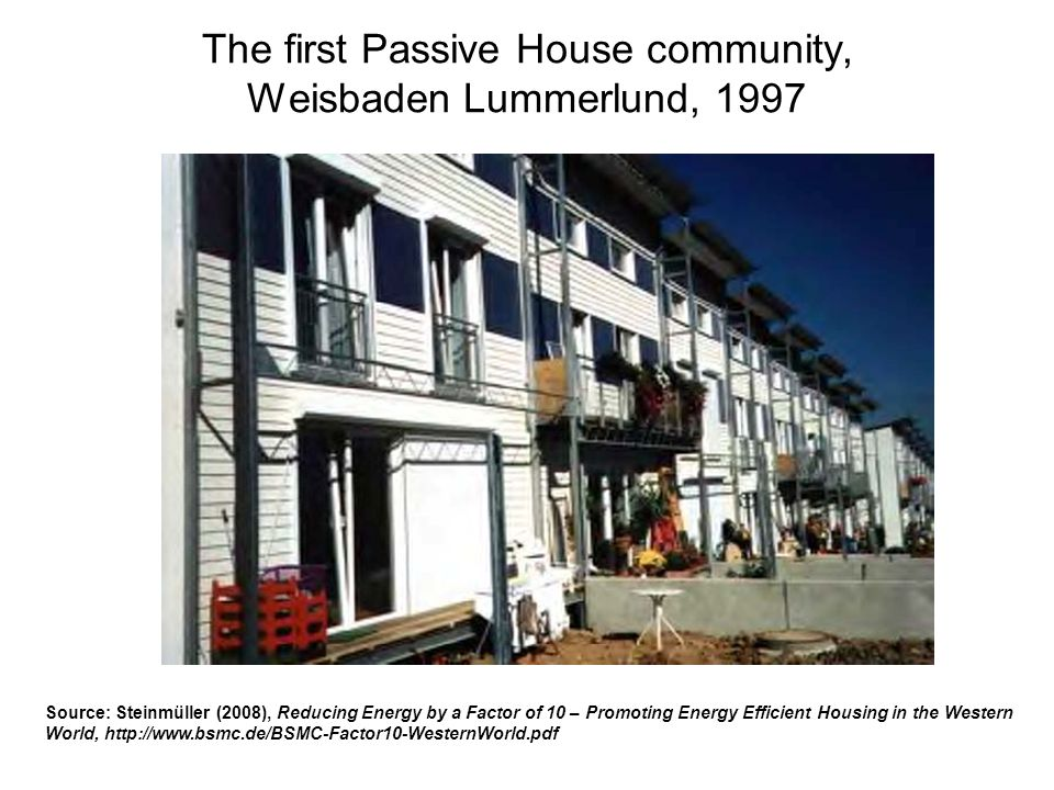 The first Passive House community, Weisbaden Lummerlund, 1997