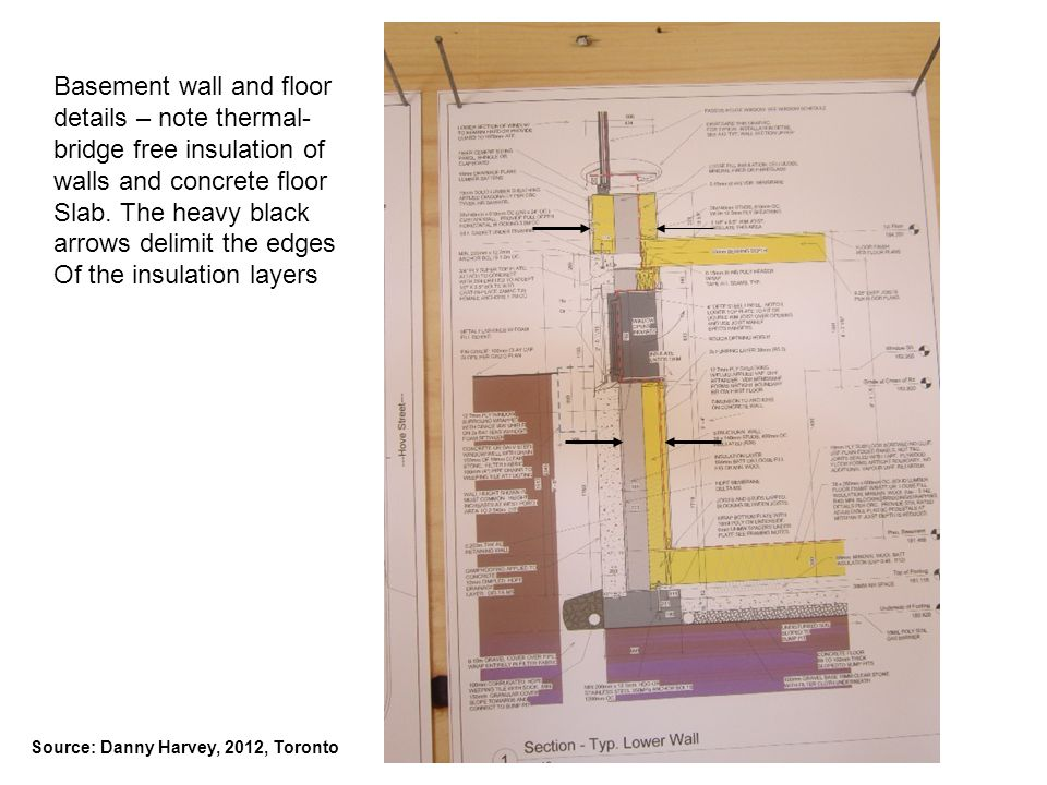 Basement wall and floor details – note thermal-