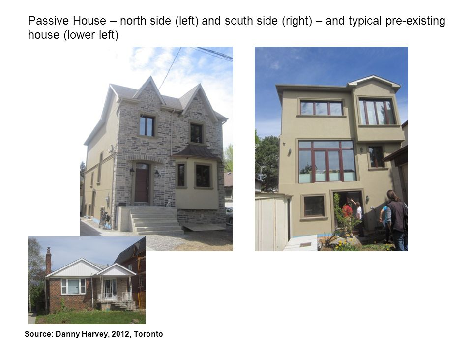 Passive House – north side (left) and south side (right) – and typical pre-existing