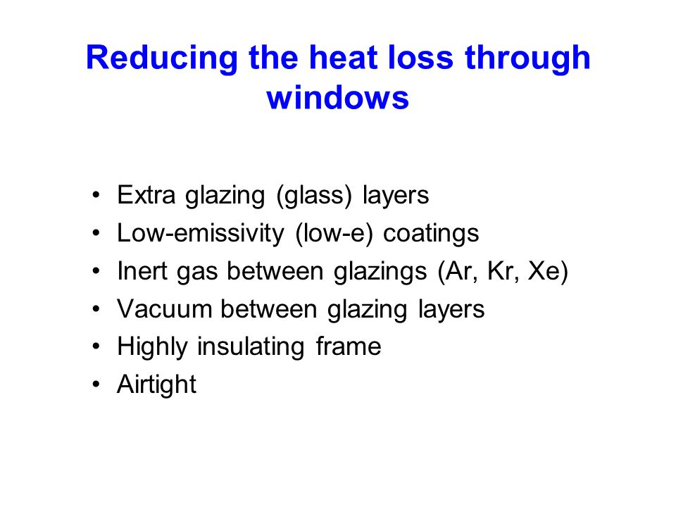Reducing the heat loss through windows