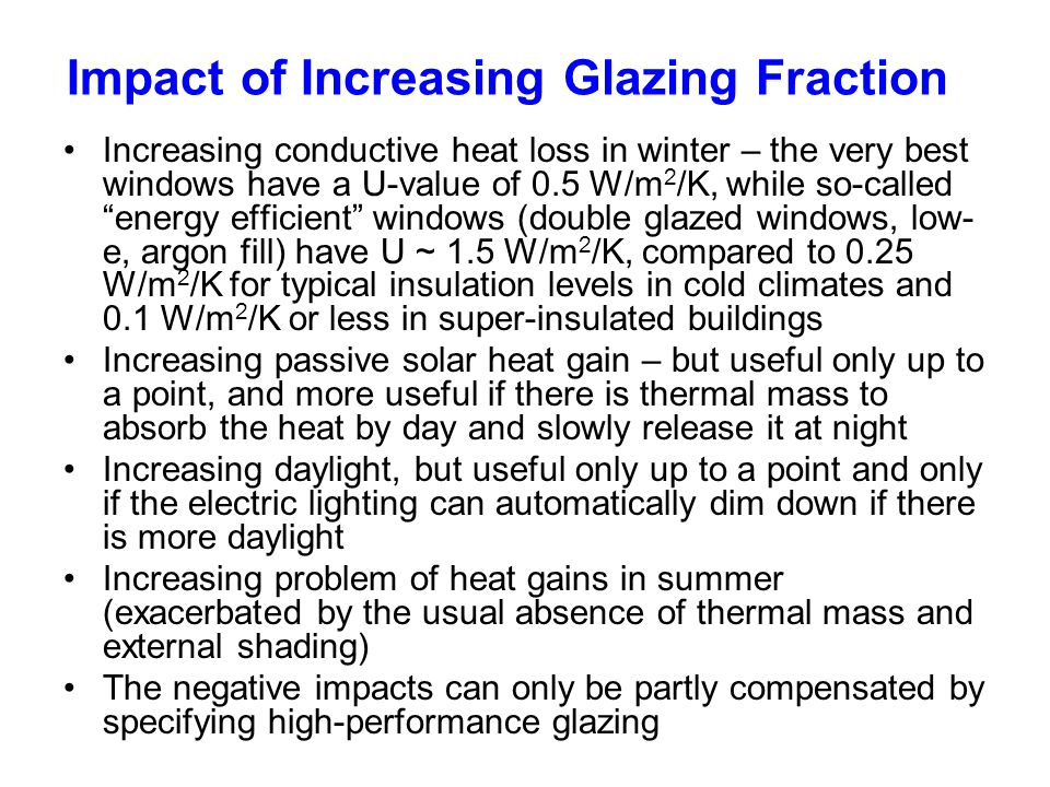Impact of Increasing Glazing Fraction