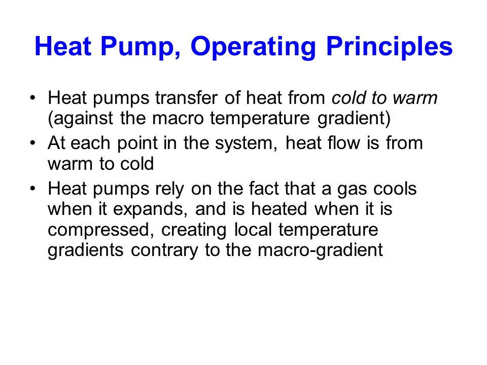 Heat Pump, Operating Principles