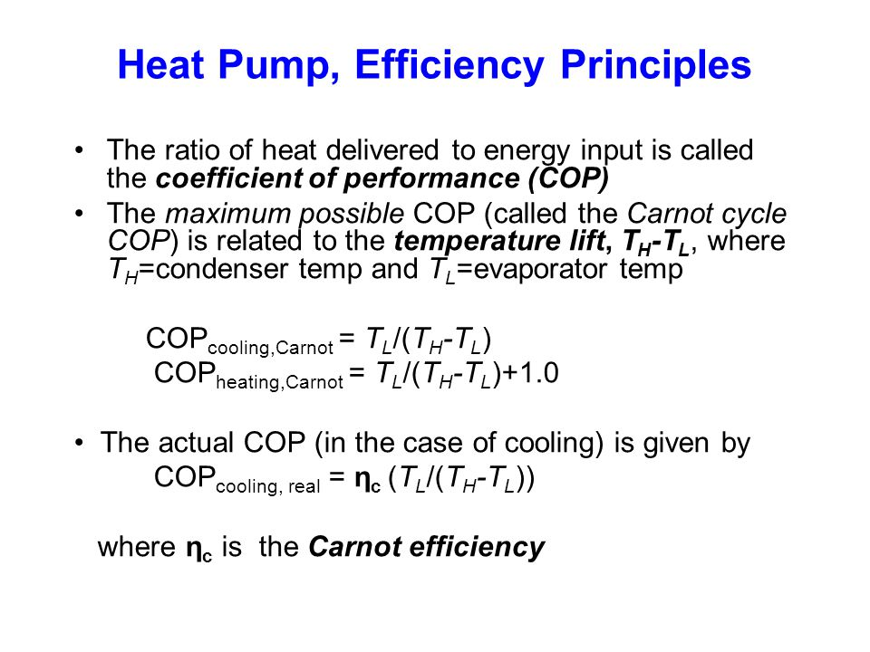 Heat Pump, Efficiency Principles