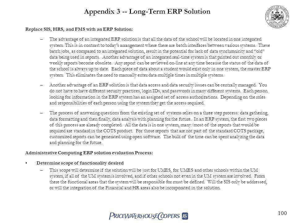 Appendix 3 -- Long-Term ERP Solution