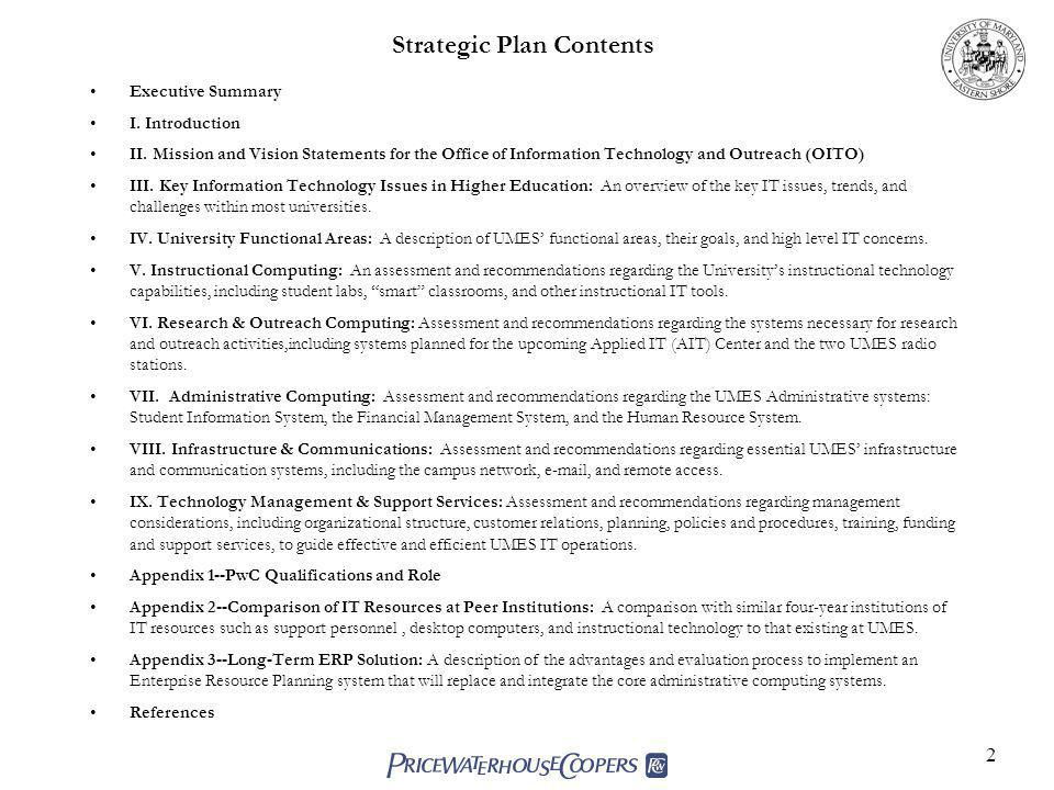 Strategic Plan Contents