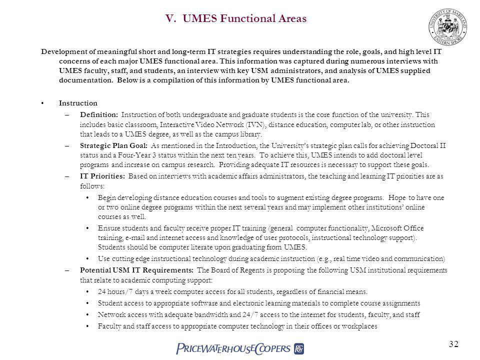 V. UMES Functional Areas