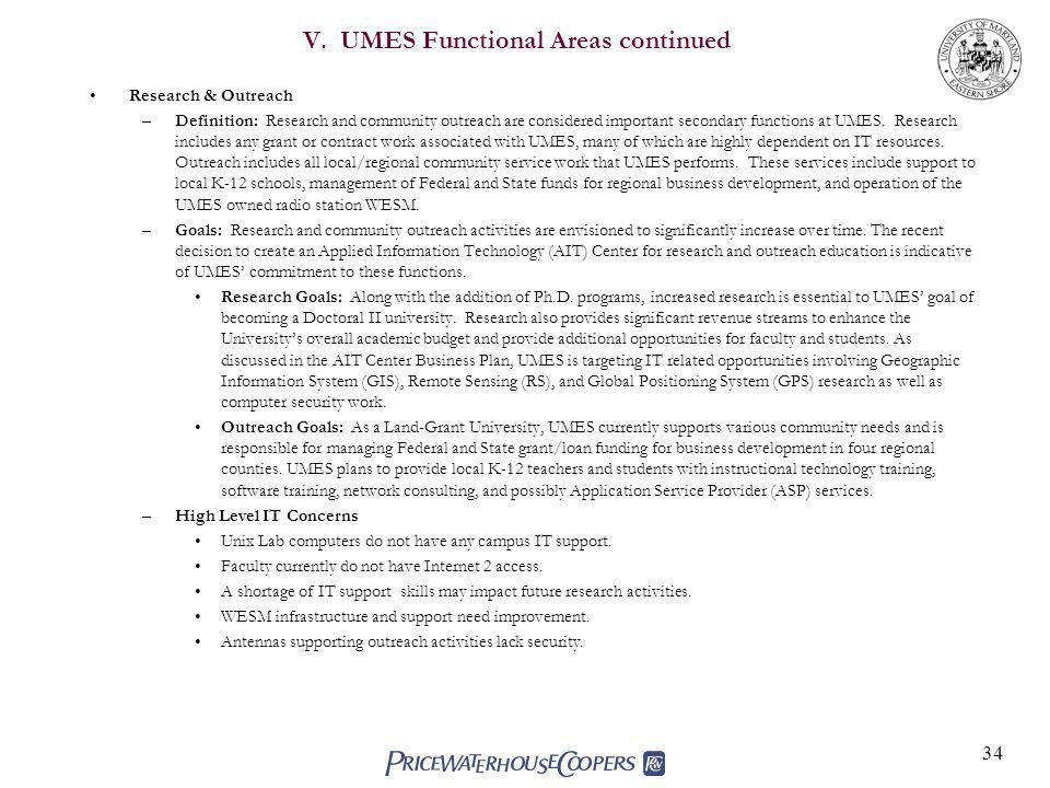 V. UMES Functional Areas continued