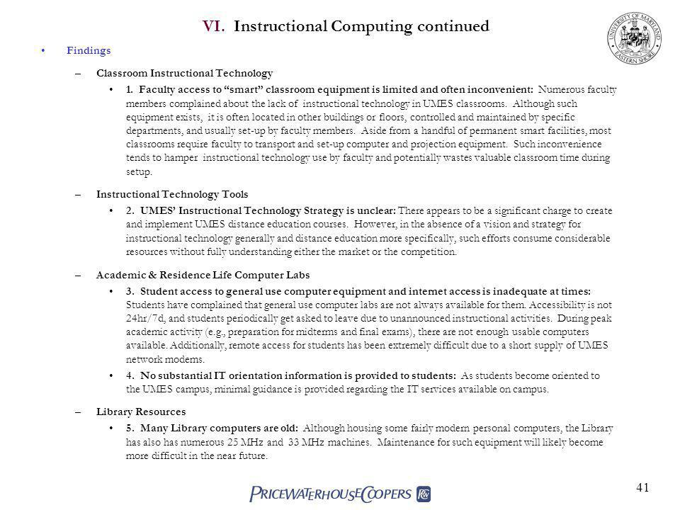 VI. Instructional Computing continued