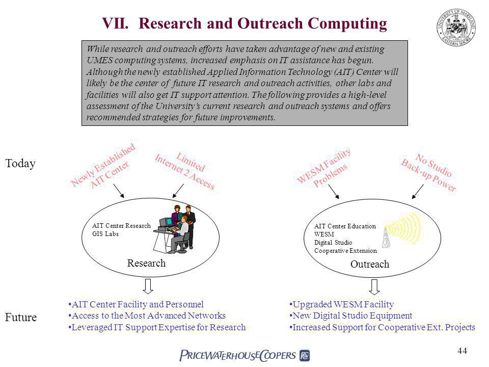 VII. Research and Outreach Computing
