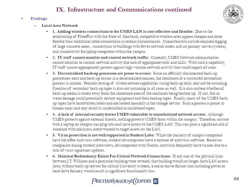 IX. Infrastructure and Communications continued