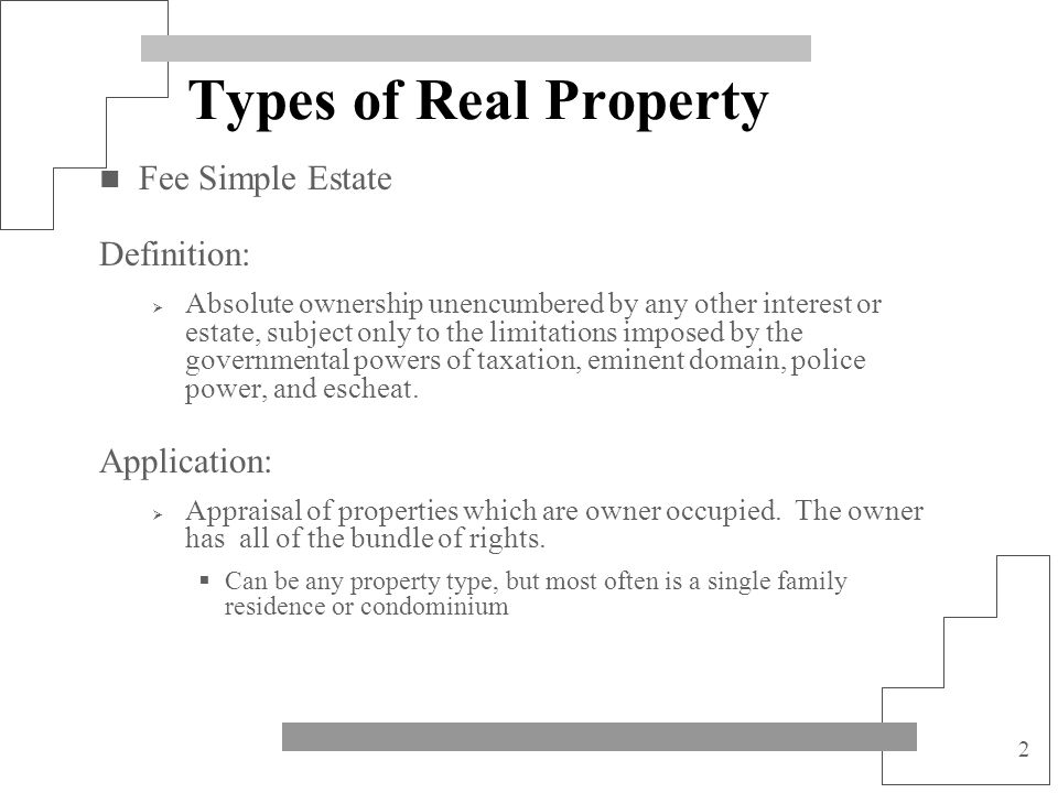 Types of Real Property Fee Simple Estate Definition: Application: