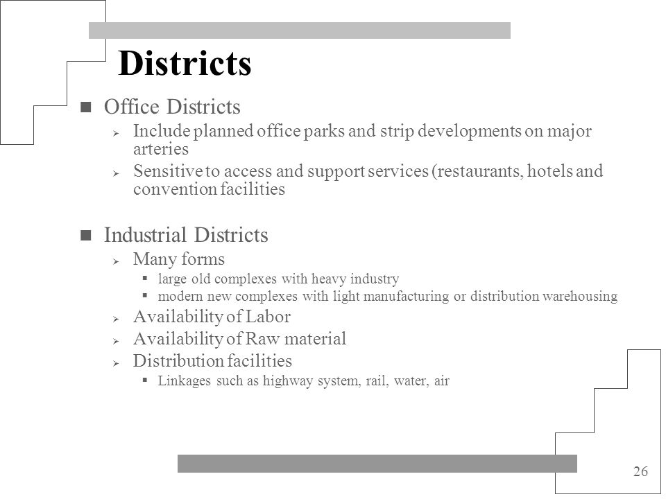 Districts Office Districts Industrial Districts