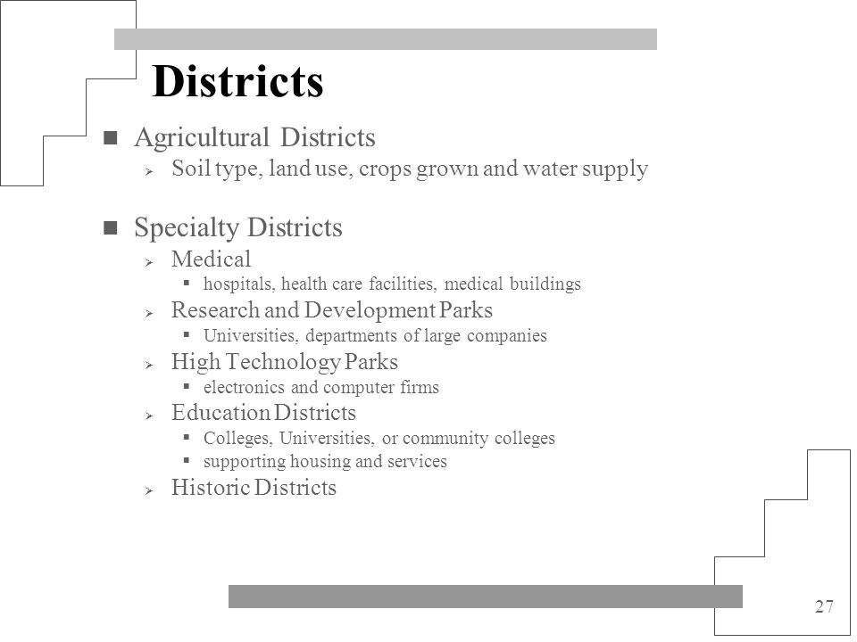 Districts Agricultural Districts Specialty Districts