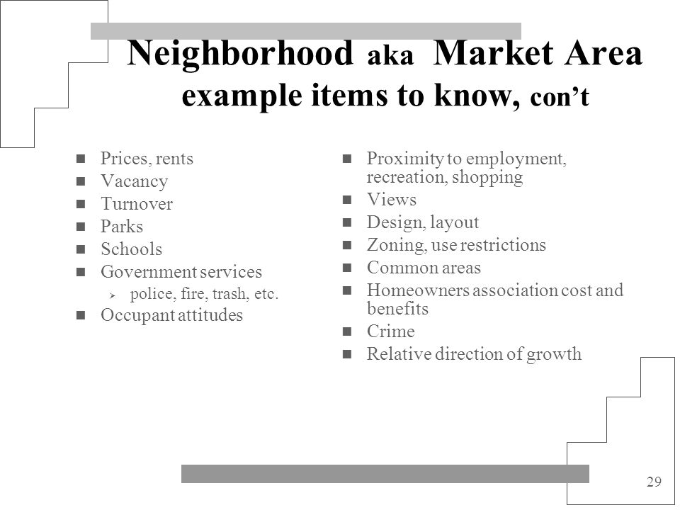 Neighborhood aka Market Area example items to know, con't
