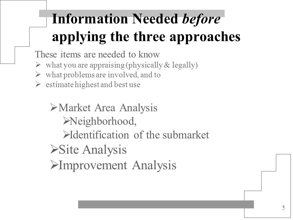 Information Needed before applying the three approaches