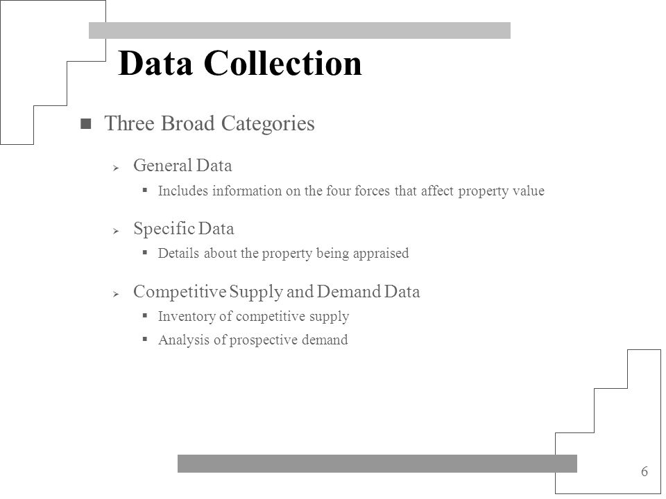 Data Collection Three Broad Categories General Data Specific Data