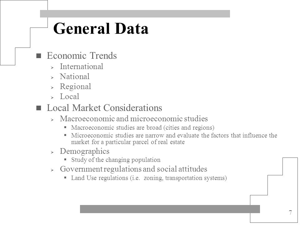 General Data Economic Trends Local Market Considerations International