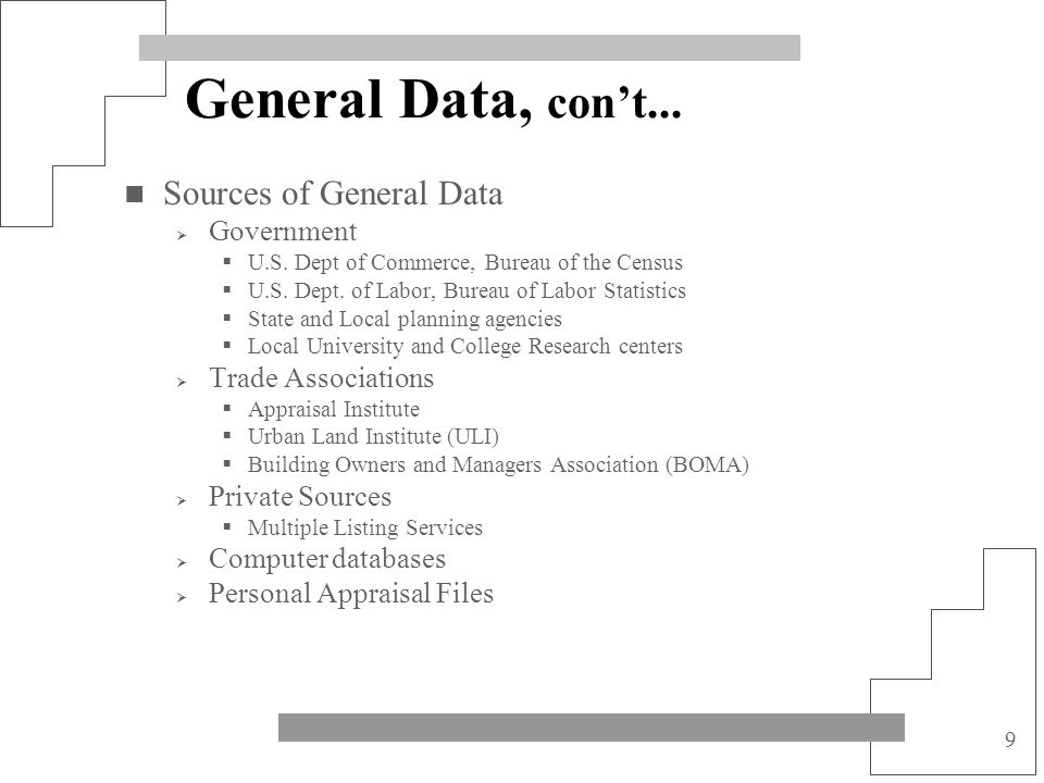 General Data, con't... Sources of General Data Government