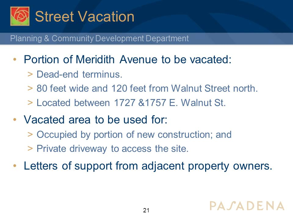 Street Vacation Portion of Meridith Avenue to be vacated: