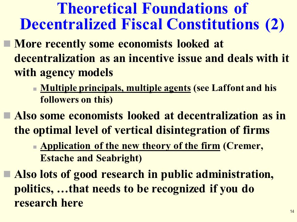 Theoretical Foundations of Decentralized Fiscal Constitutions (2)