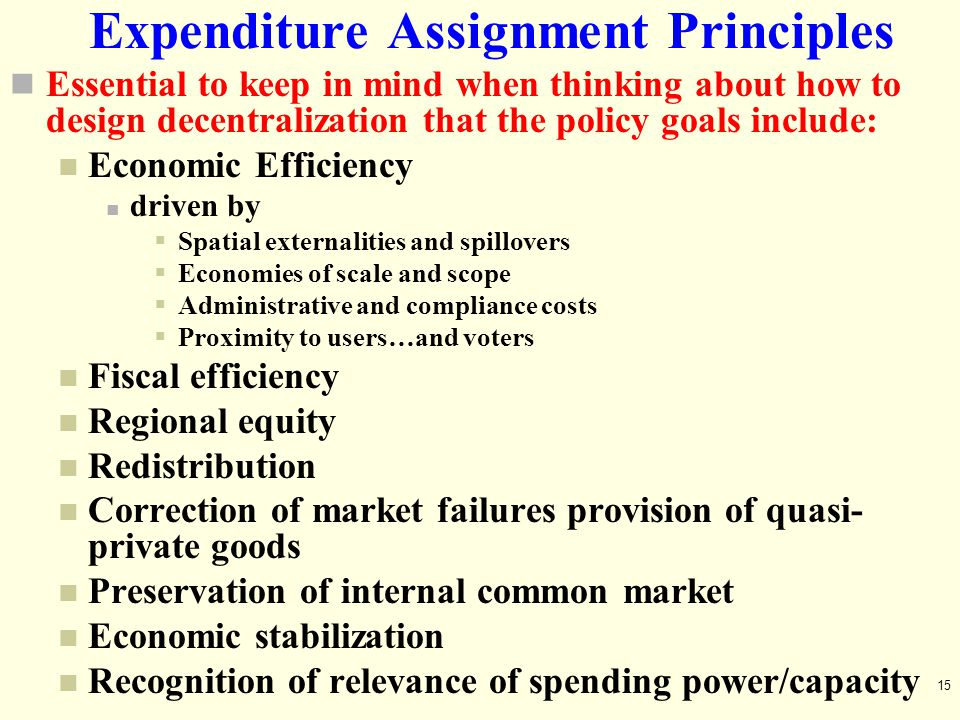 Expenditure Assignment Principles