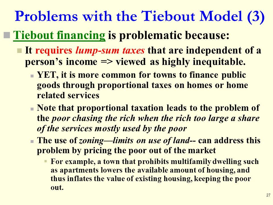 Problems with the Tiebout Model (3)