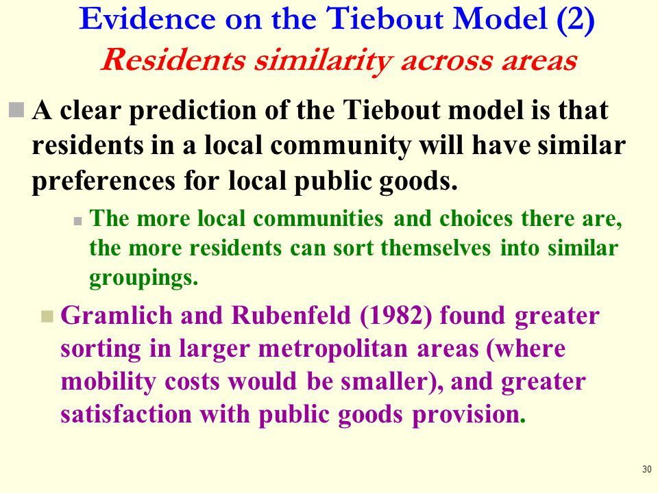 Evidence on the Tiebout Model (2) Residents similarity across areas