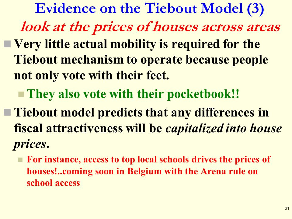 Evidence on the Tiebout Model (3) look at the prices of houses across areas