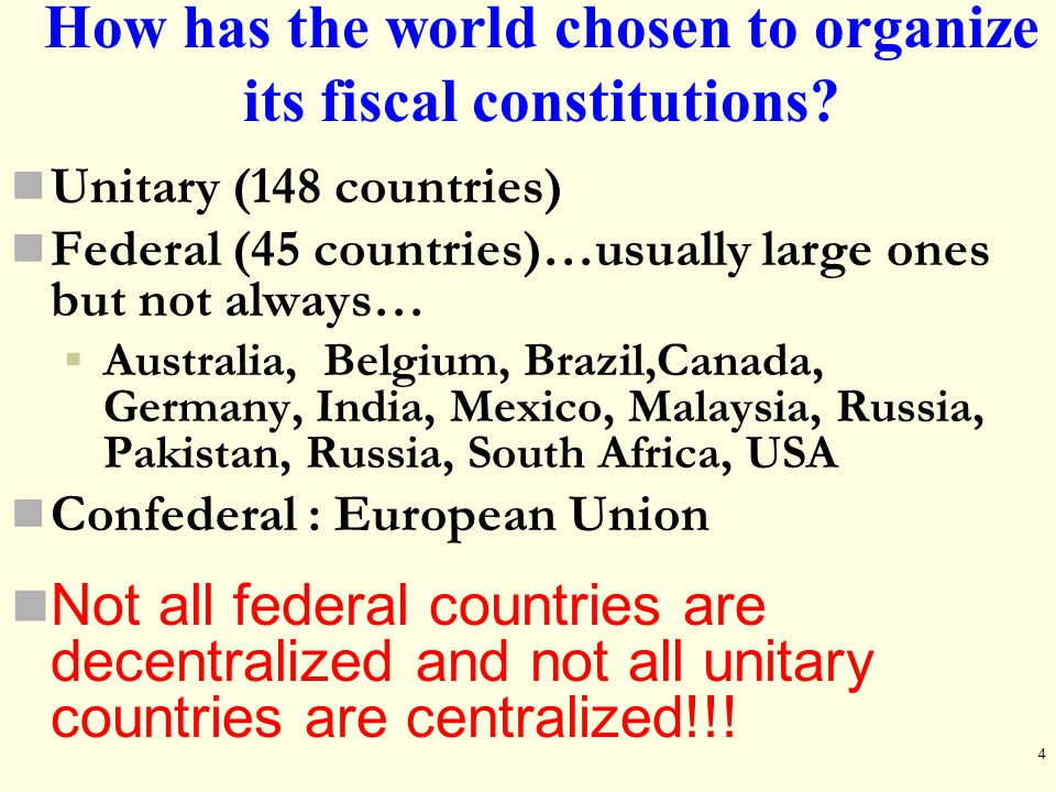How has the world chosen to organize its fiscal constitutions