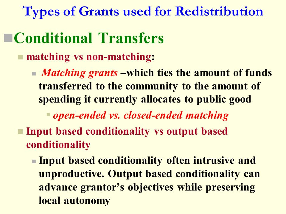 Types of Grants used for Redistribution
