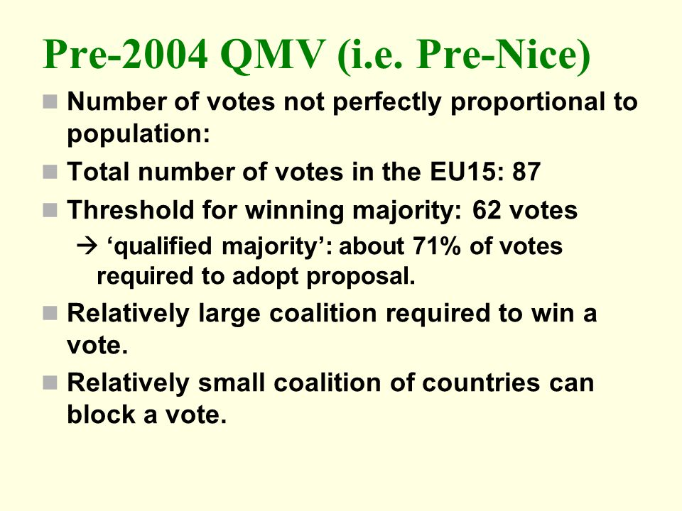 Pre-2004 QMV (i.e. Pre-Nice) Number of votes not perfectly proportional to population: Total number of votes in the EU15: 87.