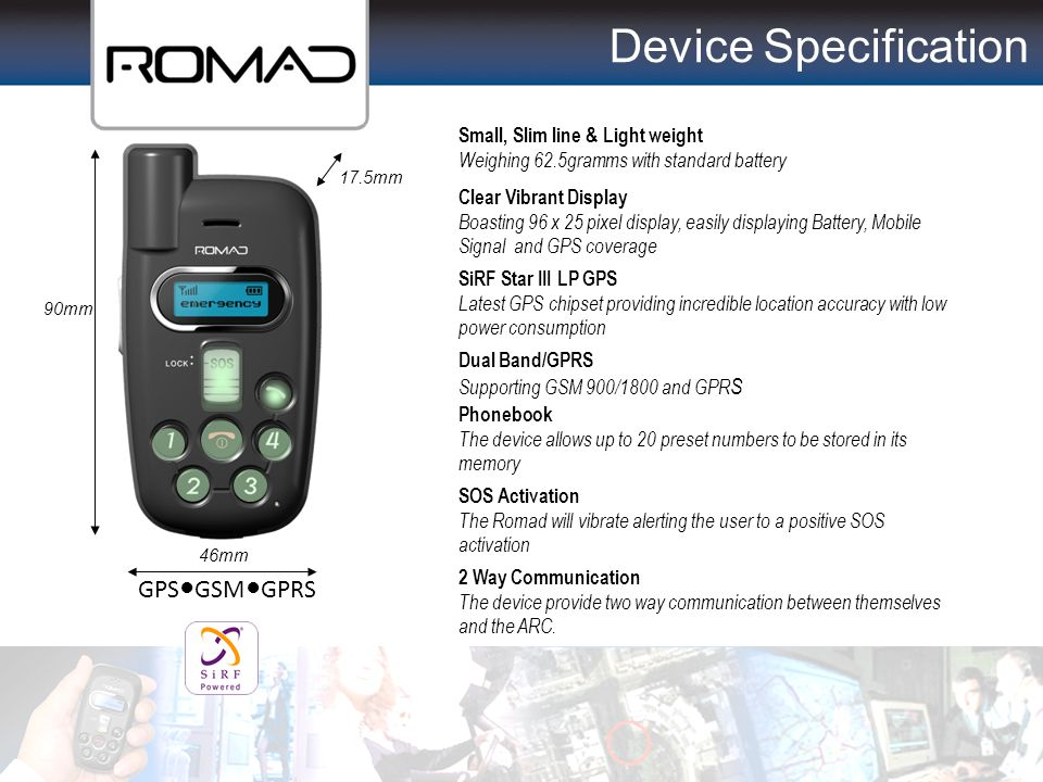 Device Specification GPS●GSM●GPRS Small, Slim line & Light weight