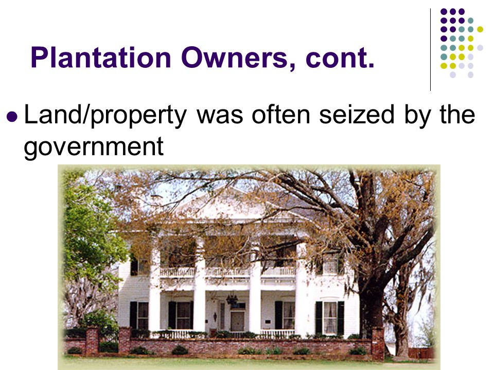 Plantation Owners, cont.