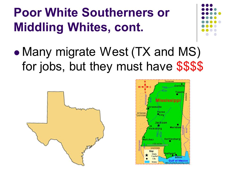 Poor White Southerners or Middling Whites, cont.