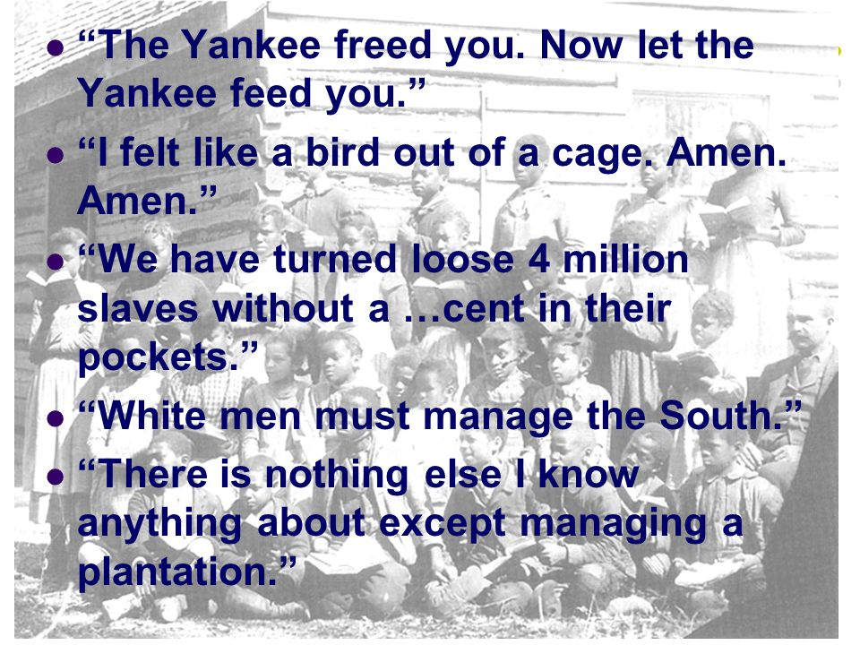 The Yankee freed you. Now let the Yankee feed you.