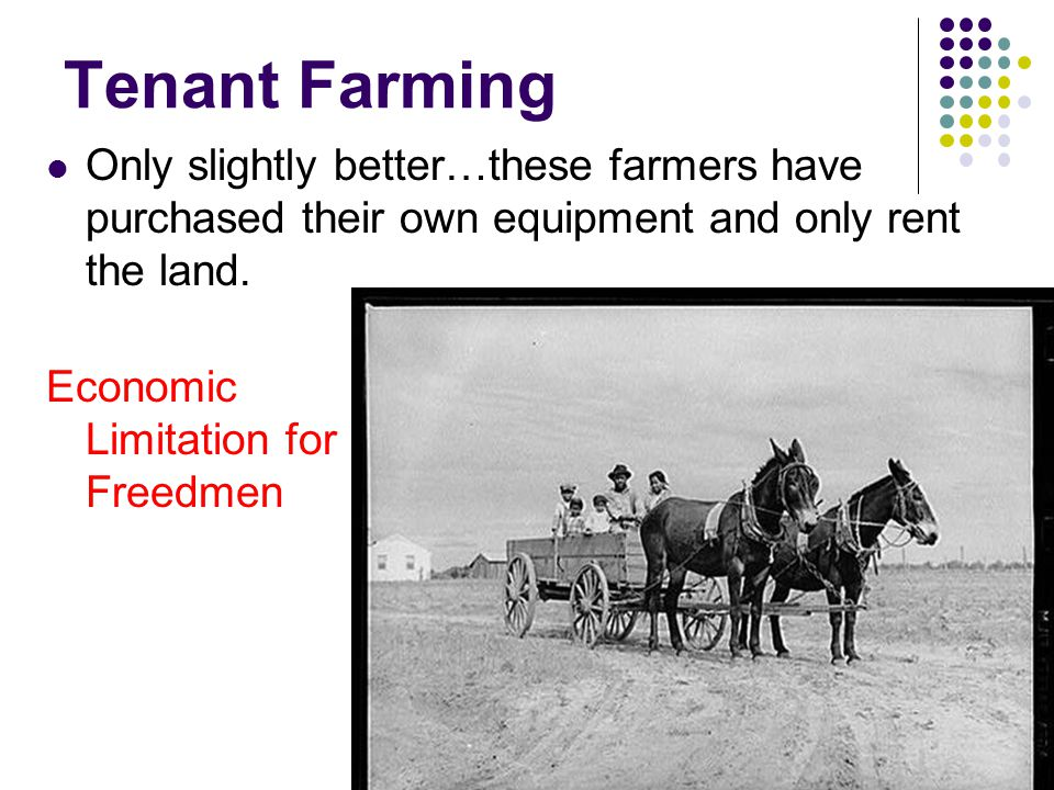 Tenant Farming Only slightly better…these farmers have purchased their own equipment and only rent the land.