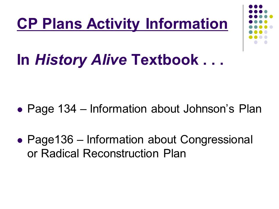 CP Plans Activity Information In History Alive Textbook . . .