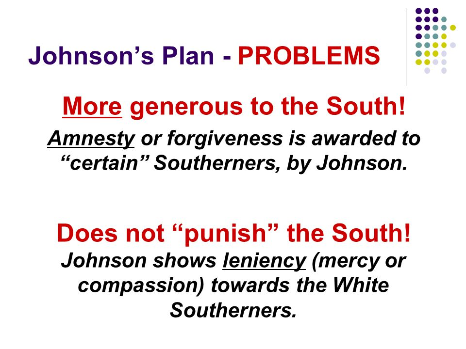 Johnson's Plan - PROBLEMS