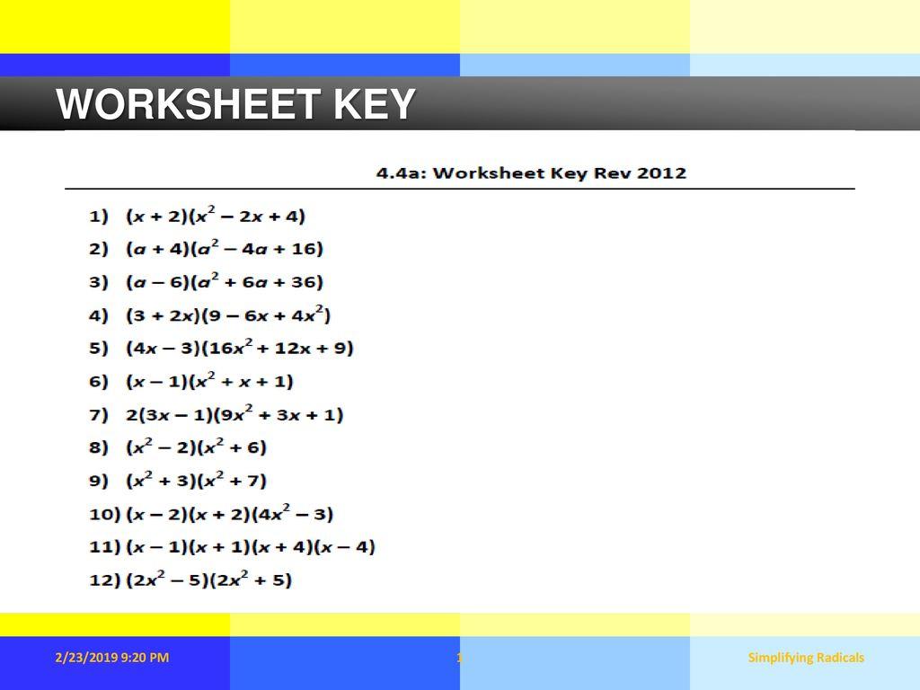 Worksheet Key 2 23 2019 9 20 Pm Simplifying Radicals Ppt Download