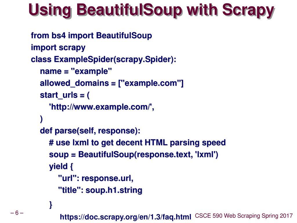 CSCE 590 Web Scraping – Scrapy III - ppt download