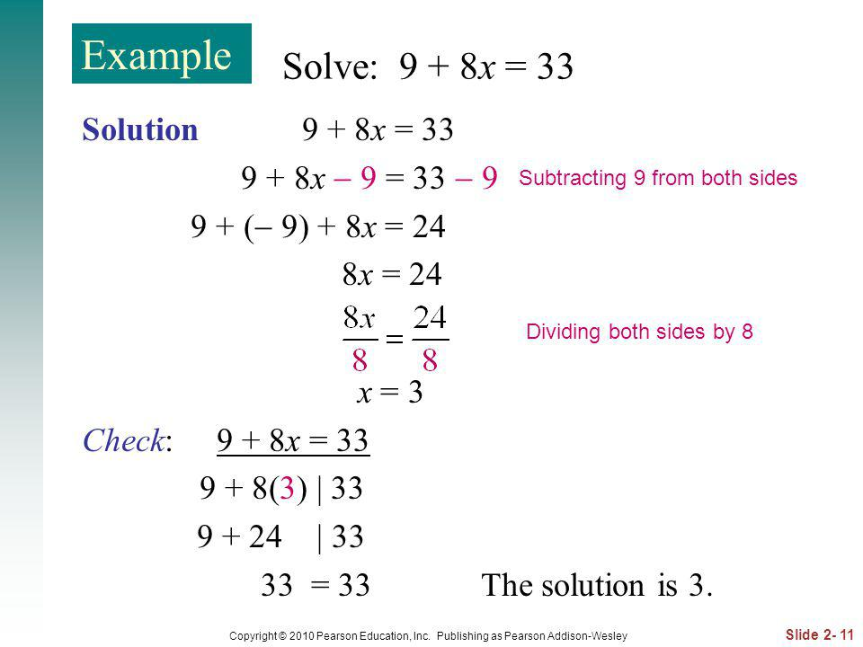 Example Solve: 9 + 8x = 33 Solution 9 + 8x = 33 9 + 8x  9 = 33  9