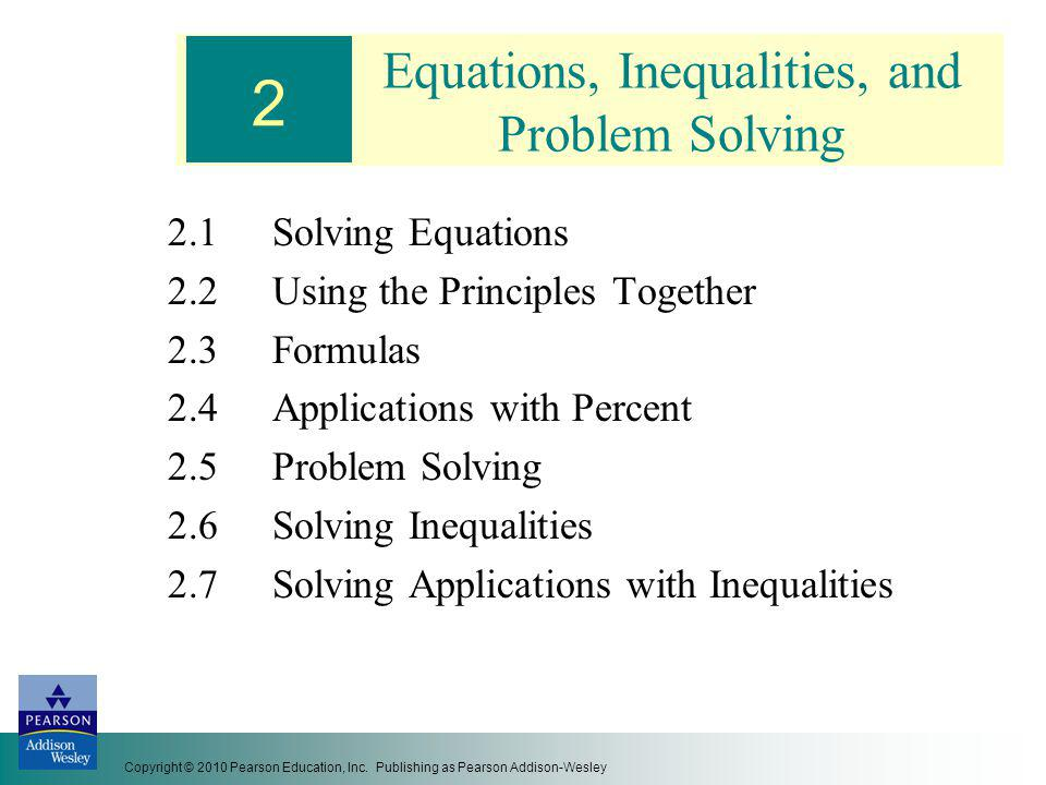 Equations, Inequalities, and Problem Solving