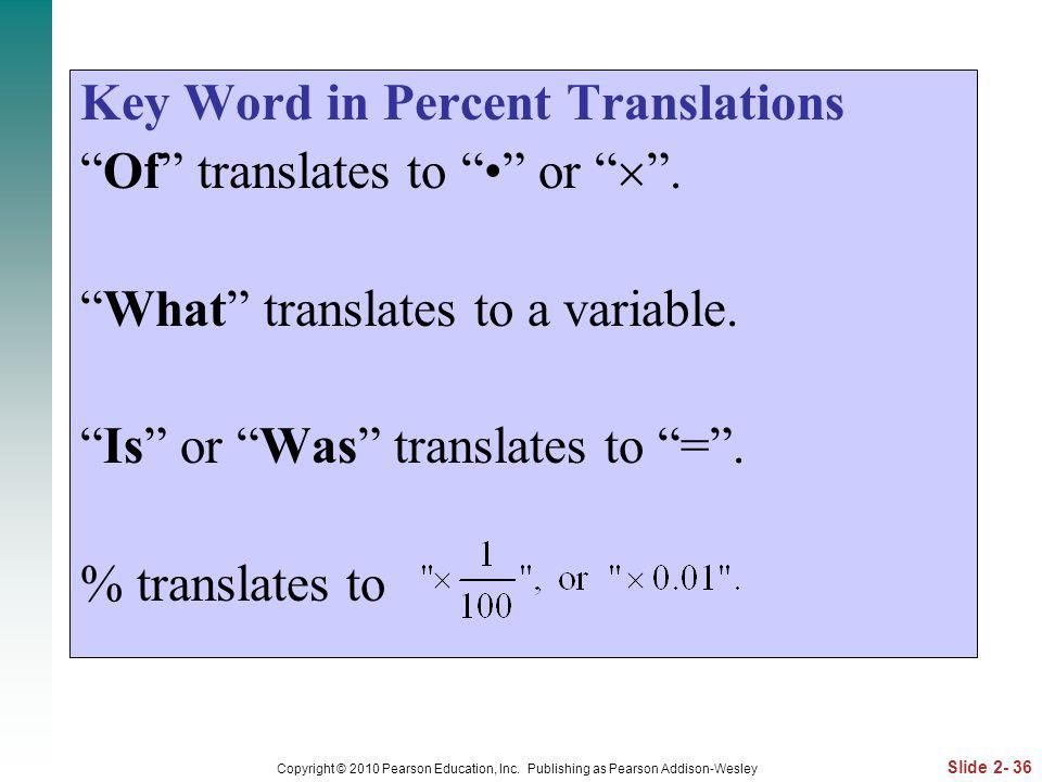 Key Word in Percent Translations Of translates to • or  .